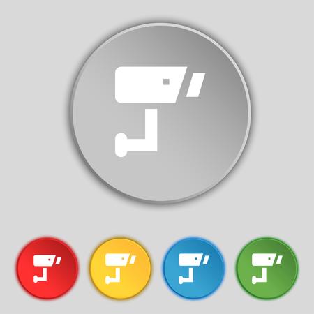close circuit camera: Surveillance Camera icon sign. Symbol on five flat buttons. illustration Stock Photo