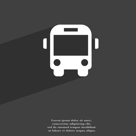 schoolbus: Bus icon symbol Flat modern web design with long shadow and space for your text. illustration