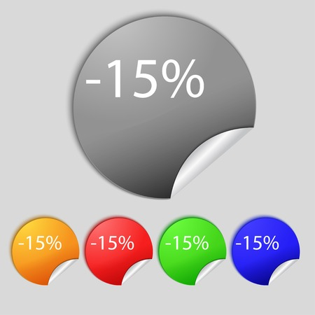 15: 15 percent discount sign icon. Sale symbol. Special offer label. Set of colored buttons illustration