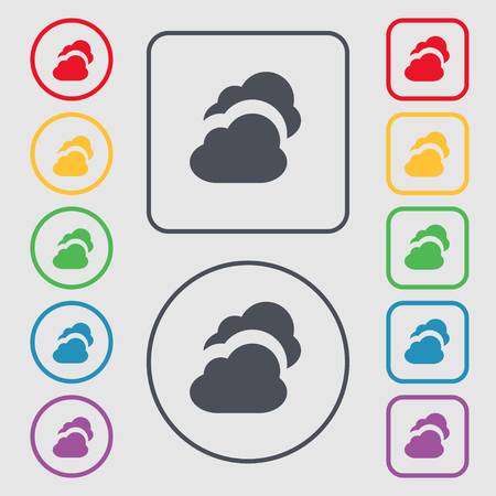 simplus: Cloud icon sign. symbol on the Round and square buttons with frame. illustration Stock Photo