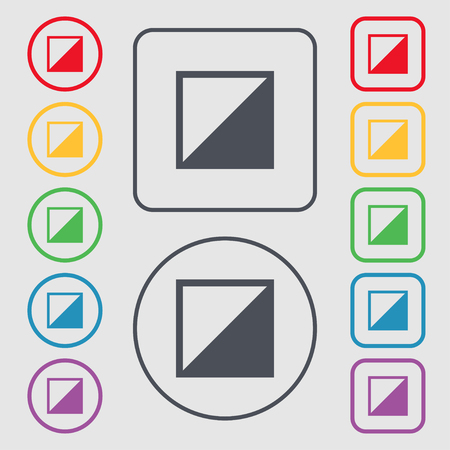contrast: contrast icon sign. Symbols on the Round and square buttons with frame. illustration