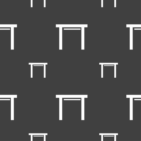 stool: stool seat icon sign. Seamless pattern on a gray background. illustration
