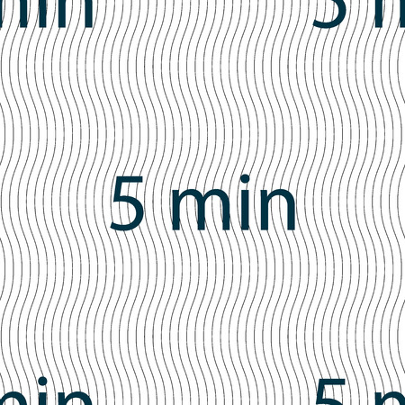 minutes: 5 minutes sign icon. Seamless pattern with geometric texture. illustration Stock Photo