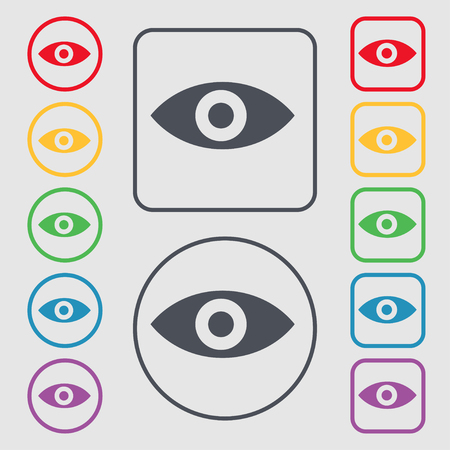 intuition: Eye, Publish content, sixth sense, intuition icon sign. symbol on the Round and square buttons with frame. illustration