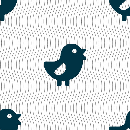 free range: chicken, Bird icon sign. Seamless pattern with geometric texture. illustration Stock Photo