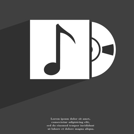 cd player: cd player icon symbol Flat modern web design with long shadow and space for your text. illustration