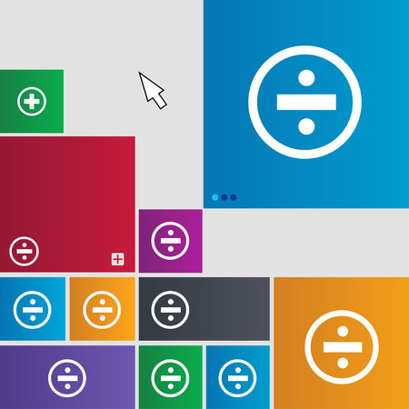 dividing: dividing icon sign. Metro style buttons. Modern interface website buttons with cursor pointer. illustration Stock Photo