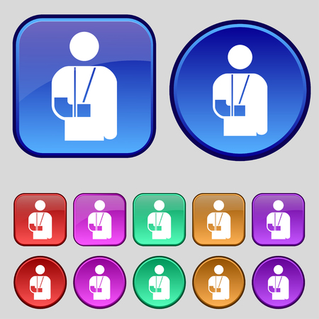 broken arm: broken arm, disability icon sign. A set of twelve vintage buttons for your design. illustration