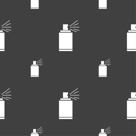 aerosol: Graffiti spray can sign icon. Aerosol paint symbol. Seamless pattern on a gray background. illustration Stock Photo