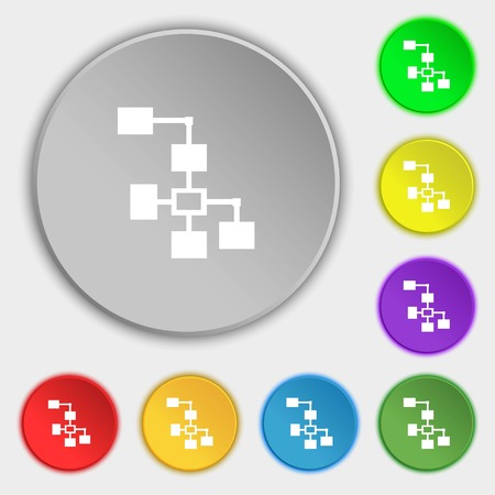 interconnect: Local Network icon sign. Symbols on eight flat buttons. illustration