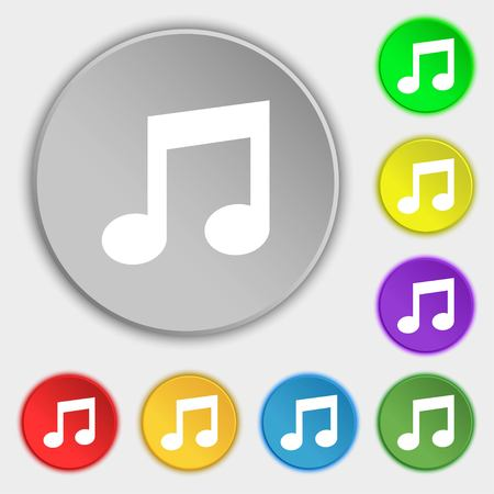 eight note: Music note sign icon. Musical symbol. Symbols on eight flat buttons. illustration
