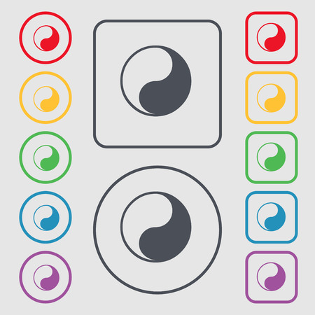 karma concept: Yin Yang icon sign. symbol on the Round and square buttons with frame. illustration
