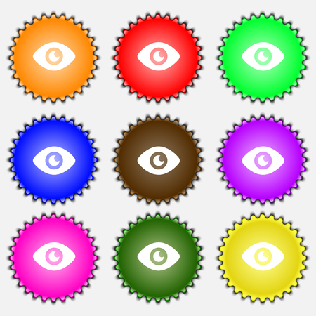 publish: Eye, Publish content icon sign. A set of nine different colored labels. illustration