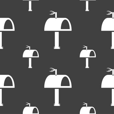 media distribution: Mailbox icon sign. Seamless pattern on a gray background. illustration Stock Photo