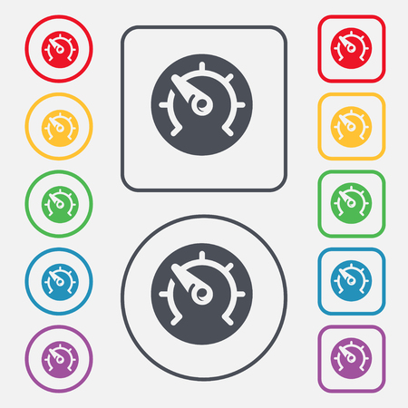 time drive: speed, speedometer icon sign. symbol on the Round and square buttons with frame. illustration Stock Photo