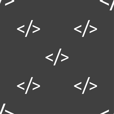 hypertext: Code sign icon. Programming language symbol. Seamless pattern on a gray background. illustration