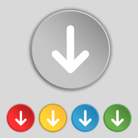 down load: Arrow down, Download, Load, Backupicon sign. Symbol on five flat buttons. illustration
