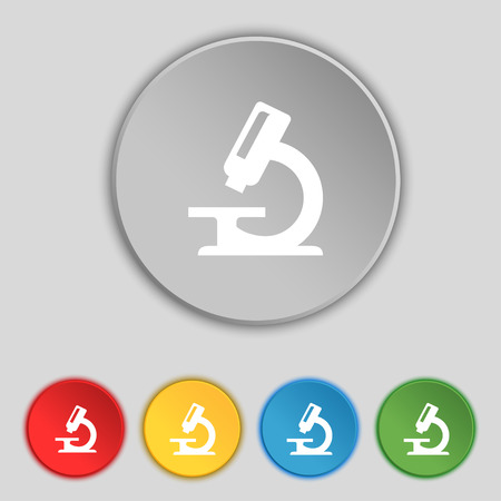 organisms: microscope icon sign. Symbol on five flat buttons. illustration