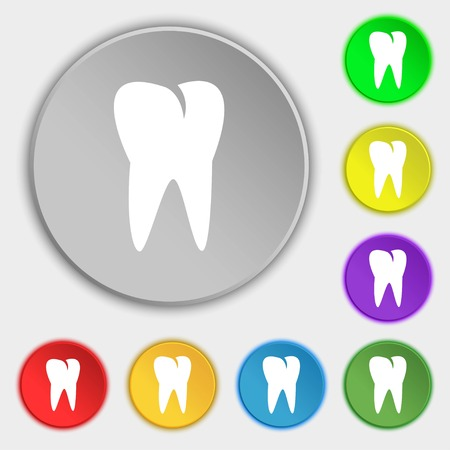 cavity braces: tooth icon. Symbols on eight flat buttons. illustration