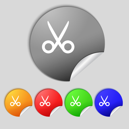 disclosed: Scissors hairdresser sign icon. Tailor symbol. Set of colored buttons. illustration