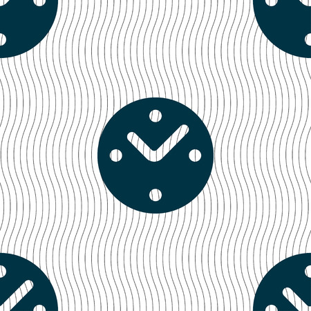 mechanical texture: Mechanical Clock icon sign. Seamless pattern with geometric texture. illustration Stock Photo