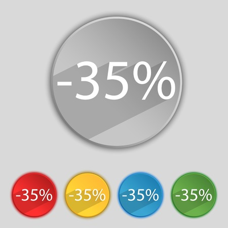 35: 35 percent discount sign icon. Sale symbol. Special offer label. Set of colored buttons illustration