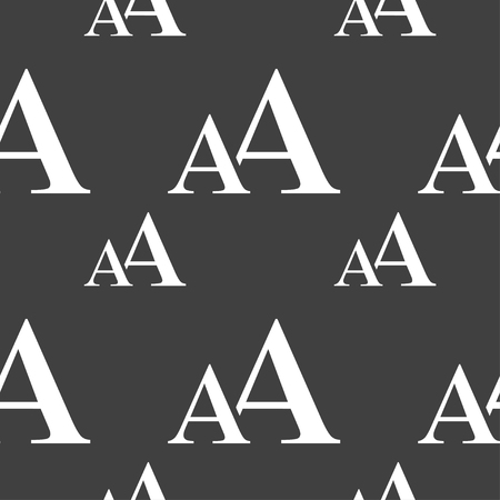 aa: Enlarge font, AA icon sign. Seamless pattern on a gray background. illustration Stock Photo