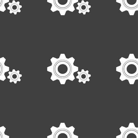 gear icon: Cog settings sign icon. Cogwheel gear mechanism symbol. Seamless pattern on a gray background. illustration Stock Photo
