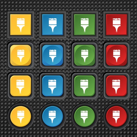 painter decorator: Paint brush sign icon. Artist symbol. Set of colored buttons. illustration Stock Photo