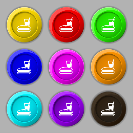 lunch box: lunch box icon sign. symbol on nine round colourful buttons. illustration Stock Photo