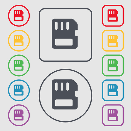 memory card: compact memory card icon sign. symbol on the Round and square buttons with frame. illustration