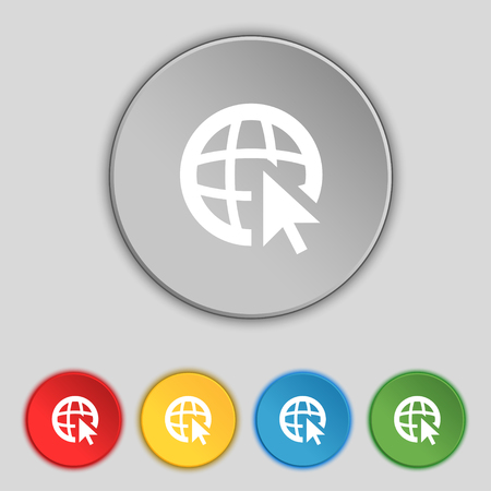 world wide web: Internet sign icon. World wide web symbol. Cursor pointer. Set colour buttons illustration