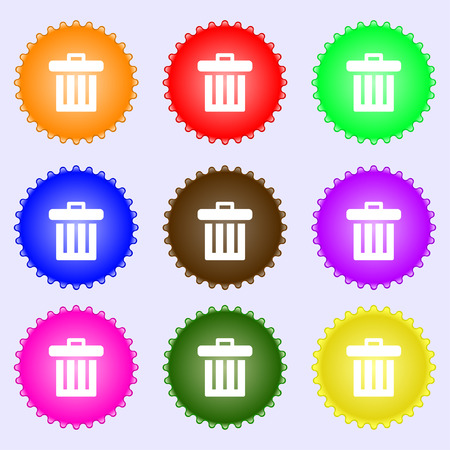 refuse bin: Recycle bin icon sign. A set of nine different colored labels. illustration