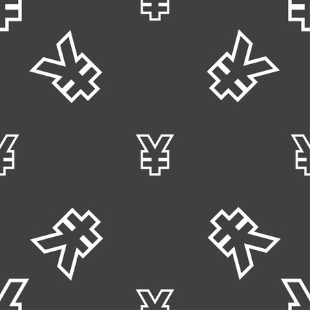 jpy: Yen JPY icon sign. Seamless pattern on a gray background. illustration