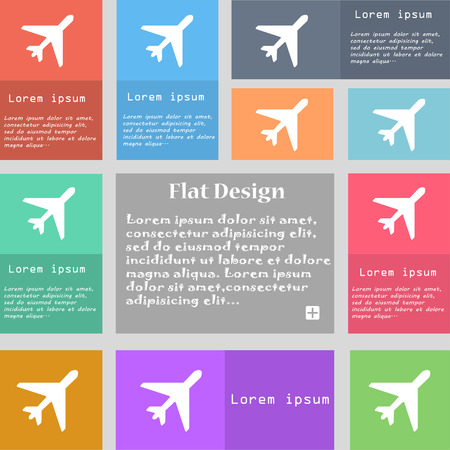 fender: airplane icon sign. Set of multicolored buttons with space for text. illustration