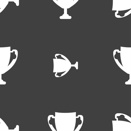awarding: Winner cup sign icon. Awarding of winners symbol. Trophy. Seamless pattern on a gray background. illustration Stock Photo