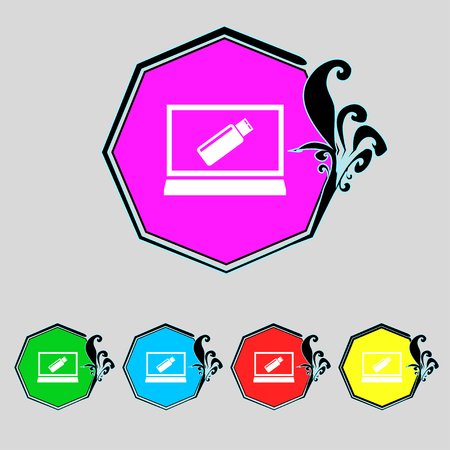token: usb flash drive and monitor sign icon. Video game symbol. Set colourful buttons. illustration Stock Photo