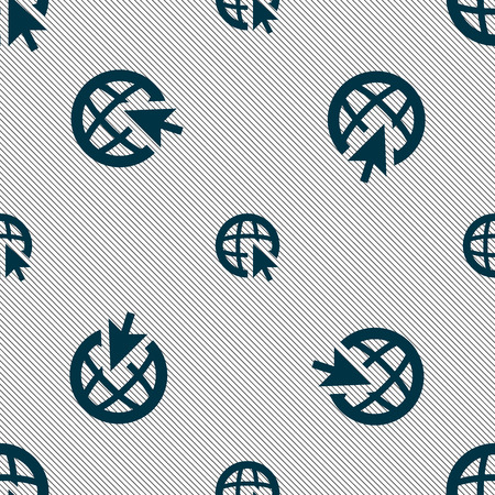 world wide: Internet sign icon. World wide web symbol. Cursor pointer. Seamless pattern with geometric texture. illustration