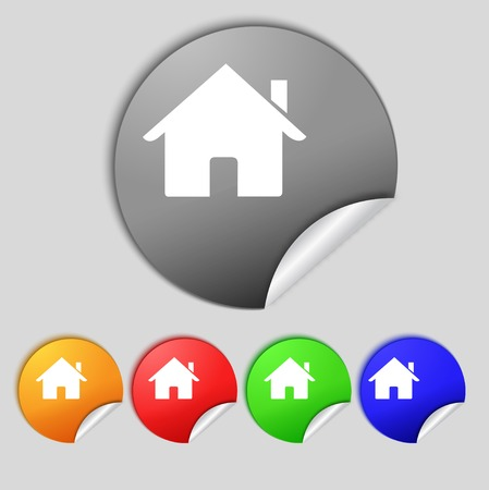 main: Home sign icon. Main page button. Navigation symbol. Set colur buttons illustration Stock Photo