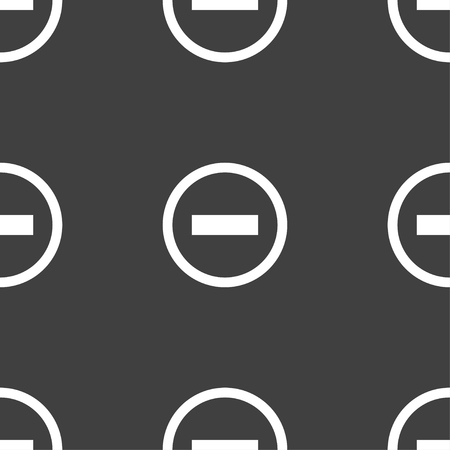 minus sign: Minus sign icon. Negative symbol. Zoom out. Seamless pattern on a gray background. illustration