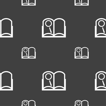 reading app: Book sign icon. Open book symbol. Seamless pattern on a gray background. illustration