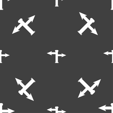 blank road sign: Blank Road Sign icon sign. Seamless pattern on a gray background. illustration Stock Photo