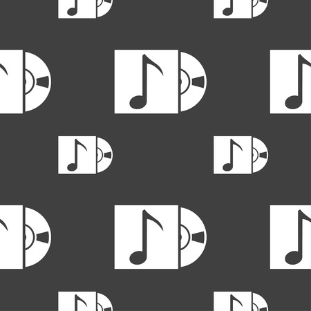 cd player: cd player icon sign. Seamless pattern on a gray background. illustration