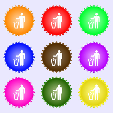 scrunched: throw away the trash icon sign. A set of nine different colored labels. illustration