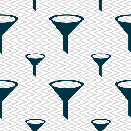 funnel: Funnel icon sign. Seamless pattern with geometric texture. illustration