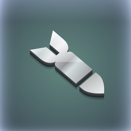 ballistic: Missile,Rocket weapon icon symbol. 3D style. Trendy, modern design with space for your text illustration. Raster version