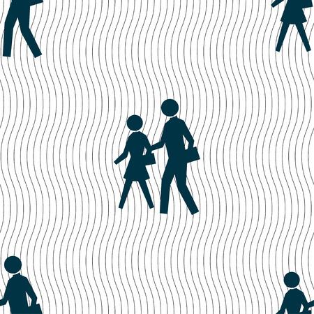 paso de peatones: crosswalk icon sign. Seamless pattern with geometric texture. illustration