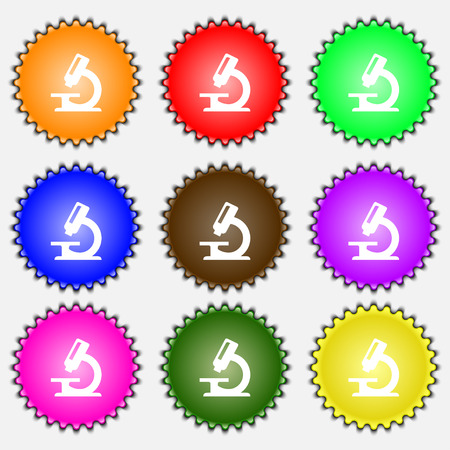equipment experiment: microscope icon sign. A set of nine different colored labels. illustration