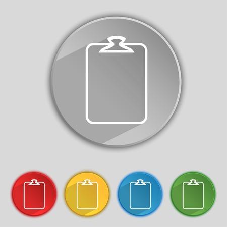 attach?: File annex icon. Paper clip symbol. Attach sign. Set of coloured buttons. illustration Foto de archivo