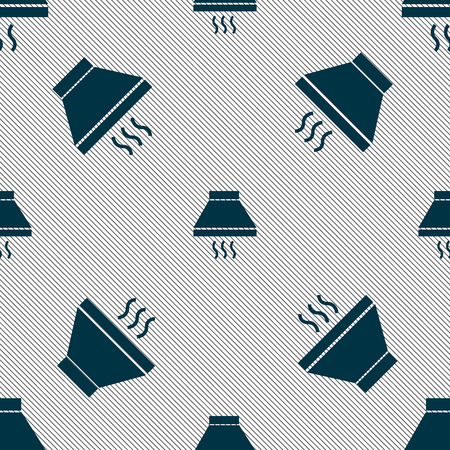aspirator: Kitchen hood icon sign. Seamless pattern with geometric texture. illustration Stock Photo
